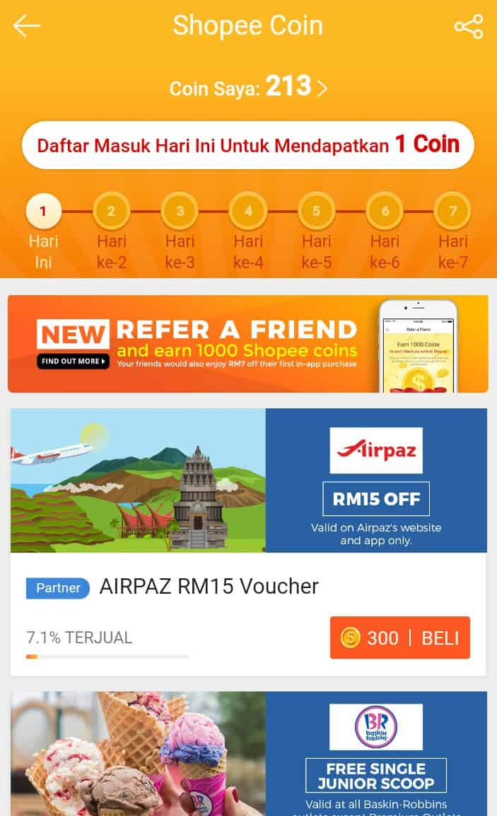 shopee coin reward redeem